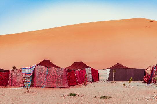 Merzougha in Sahara desert in Morocco, life of Moroccan bedouins in sahara desert