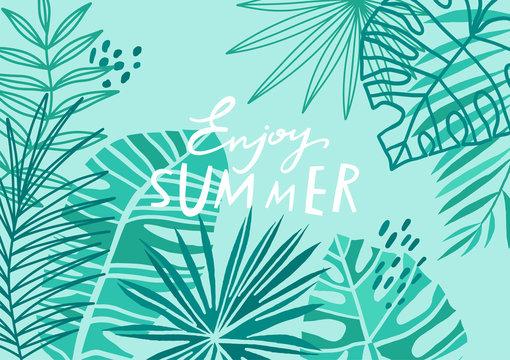 Tropical leaf background. Blue floral summer banner.