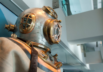 Retro diving suit with steel and copper dive helmet