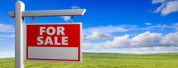 Land for sale wooden placard in the countryside, green field landscape background, 3d illustration