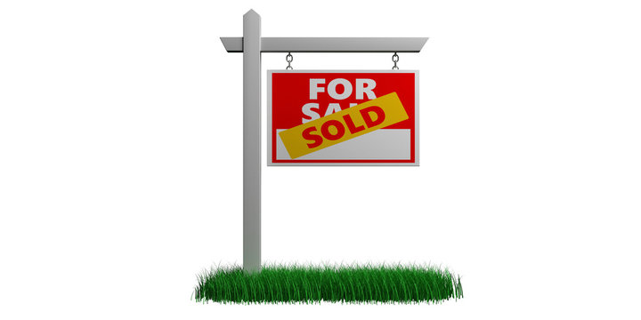 Sold for sale sign isolated against white background, Real estate concept. 3d illustration