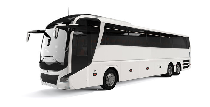 White big tour bus front left angle view