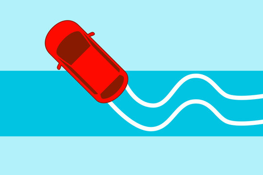 The car rides on a slippery road. Winter accident. Flat design. Vector illustration