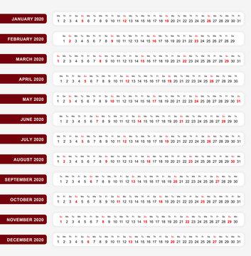 Horizontal one line calendar 2020, One line calendar template for you design.