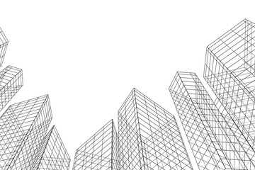 Obraz Abstract architectural background. Linear 3D illustration. Concept sketch. Vector - fototapety do salonu