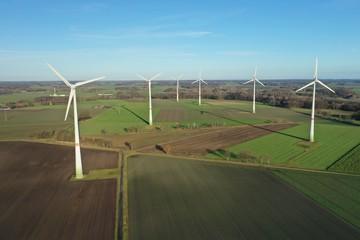 Windpark Windenergie Landwirtschaft, Luftaufnahme