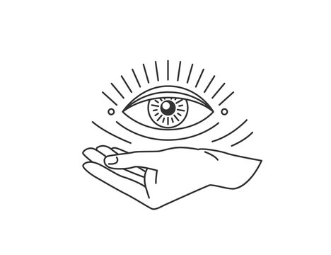 Hand with all-seeing eye design element in simple flat esoteric line style. Vector illustration