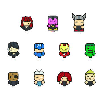 Icon The Avengers Age of Ultron and Pantone, Captain America Iron Man and Avengers Team