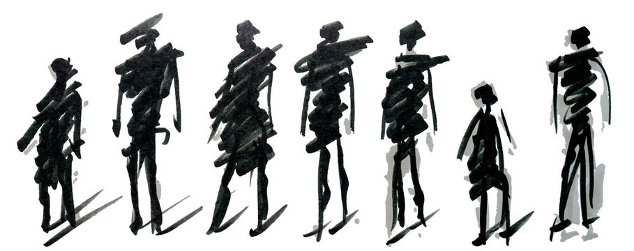 Set of pedestrians figure different poses, hand drawn marker sketch. Template for drawing аnd scetch eps10 vector illustraion.