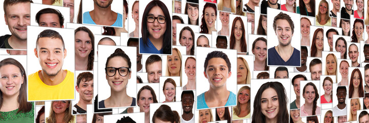 People background group of multiracial young smiling happy faces large panorama portrait diversity Fototapete