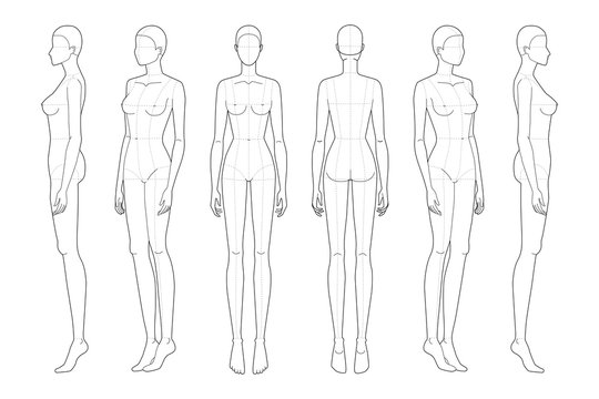 Fashion template 9 head for technical drawing with main lines.