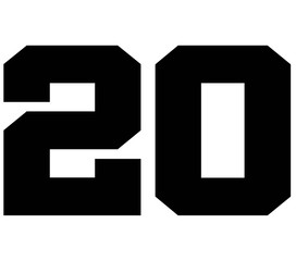 20,Classic Vintage Sport Jersey Number, Uniform numbers in black as fat fonts, number. For American football, baseball or basketball and ice Hockey.