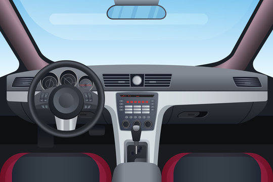 Automobile black and red interior vector illustration. Control panel and windscreen view from front seats. Dashboard and steering wheel in car. Inside look of vehicle with mechanical transmission
