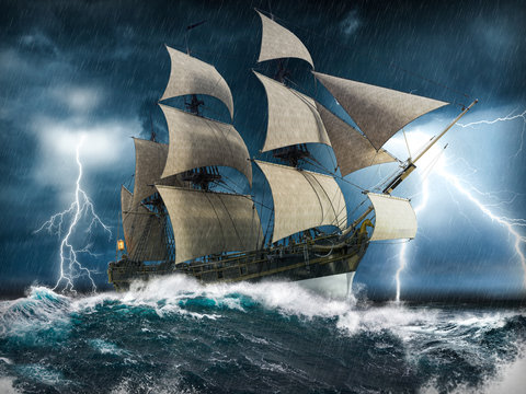 Sailing ship struggling in a heavy storm with lightning