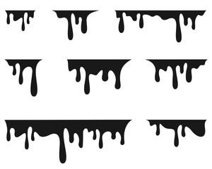 Paint drips. Current black paint. Vector illustration