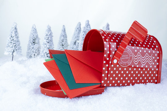 Santa Claus Christmas post on white snow and christmas trees background
