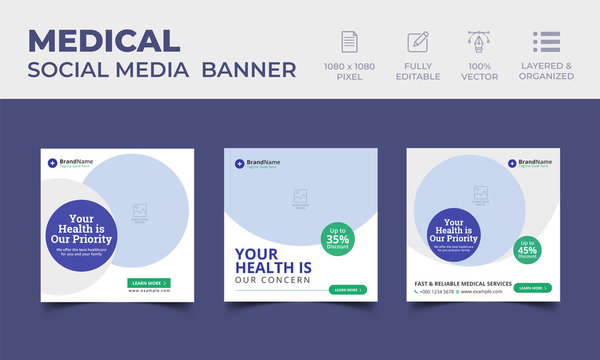 Medical Healthcare Social Media Post Template with Blue, Green Elemets
