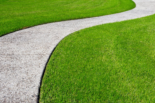 A thick carpet of zoysia grass and an oyster shell tabby pathway suggest the abstract concept of a journey, or of a beautifully maintained garden.