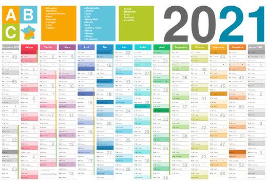 Format 650x450 mm - Calendrier 2021 pour entreprise avec logo sur 12 mois multicalque - modifiable - texte arial avec vacances