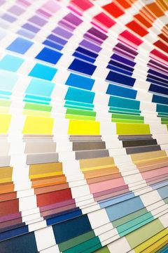 Color palette, guide of paint samples catalog. Sample colors, colorful   fan background
