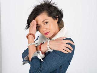 Beautiful woman headshot glamour pose