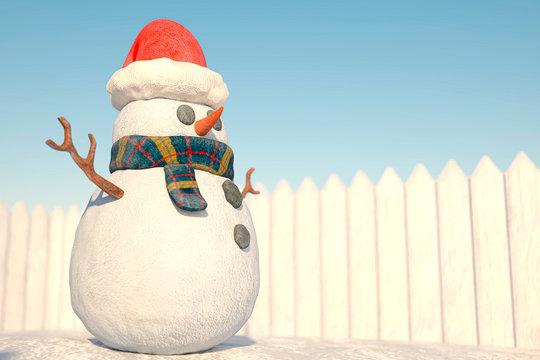 snow man cartoon cool view