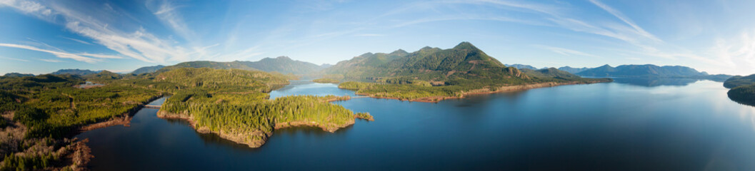 Beautiful Aerial Panoramic View of Kennedy Lake during a vibrant sunny day. Located on the West Coast of Vancouver Island near Tofino and Ucluelet, British Columbia, Canada.