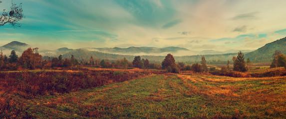 Foto auf Acrylglas Beige Foggy autumn landscape