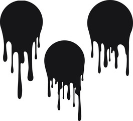 Set of 3 black round decors with paint drips. Vector illustration for your design.