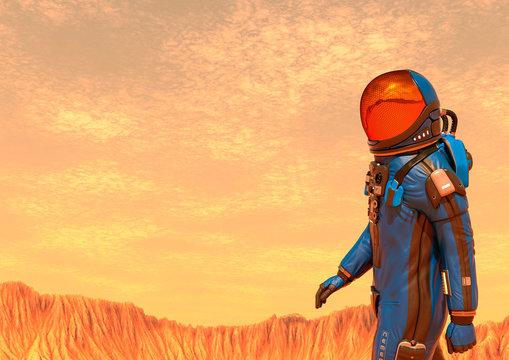 astronaut exploring mars walking alone