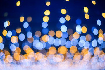 Abstract  blue and yellow light bokeh background , Christmas and Happy new year concept