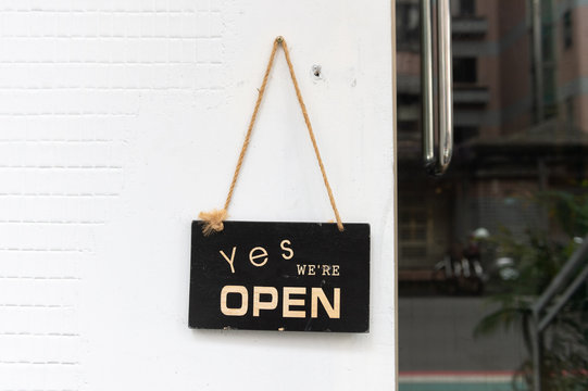 yes we're open sign , vintage restaurant sign , Open sign in street cafe