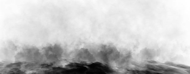 Garden Poster Smoke Panoramic view mystic dynamic smoke on isolated background. Design black and white texture freezing effect fog . Stock illustration.
