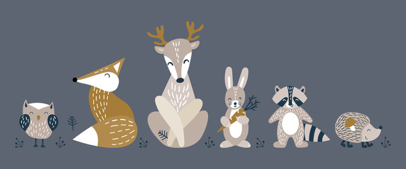 Banner with cute woodland animals in scandinavian style. Set of nice characters on dark background. Flat vector illustration.