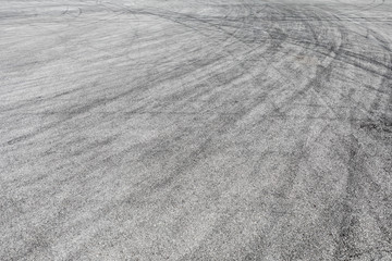 Skid marks tire marks on motor race track asphalt international circuit.shoot down view. Fototapete
