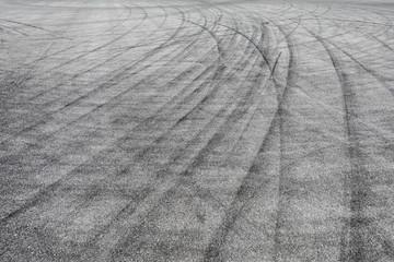 Skid marks tire marks on motor race track asphalt international circuit.shoot down view.