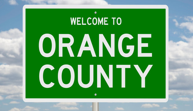 Rendering of a green 3d highway sign for Orange County