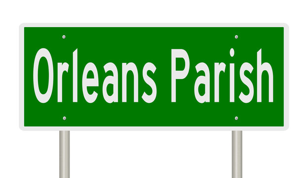 Rendering of a green 3d highway sign for Orleans Parish in Louisiana