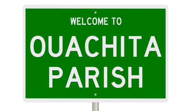 Rendering of a green 3d highway sign for Ouachita Parish in Louisiana