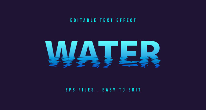 Water Text effect, Editable text