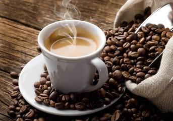 Poster Cafe coffee mug on the table
