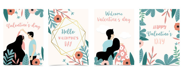 Wall Mural - Collection of love background set with leaves,flower,couple.Editable vector illustration for Valentine's day invitation,postcard and website banner