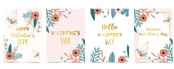 Wall Mural - Collection of love background set with leaves,flower.Editable vector illustration for Valentine's day invitation,postcard and website banner