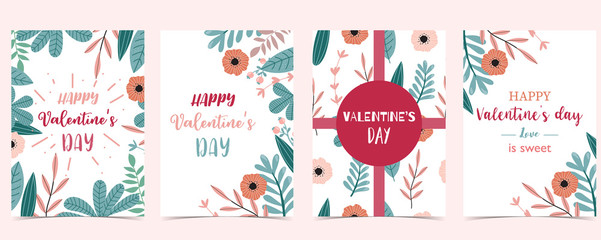Wall Mural - Collection of love background set with leaves,flower,ribbon.Editable vector illustration for Valentine's day invitation,postcard and website banner