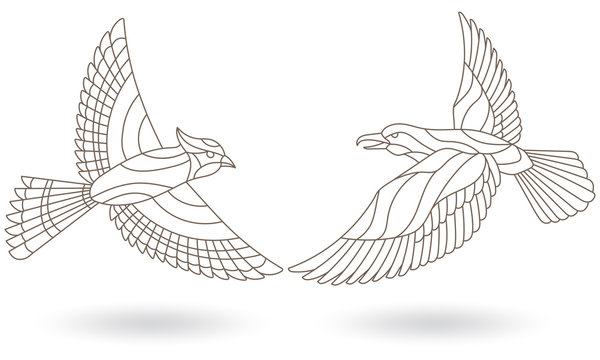 Set of contour stained glass illustrations with birds, dark outlines on white background