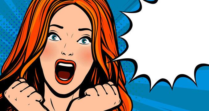 Beautiful girl screams with delight. Pop art retro comic style. Cartoon vector illustration
