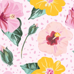 Tropical painted hibiscus flowers pattern in pink, green and yellow. Modern and colorful seamless vector design, perfect for textile, fashion, home decor, stationery and cards. Large scale floral.
