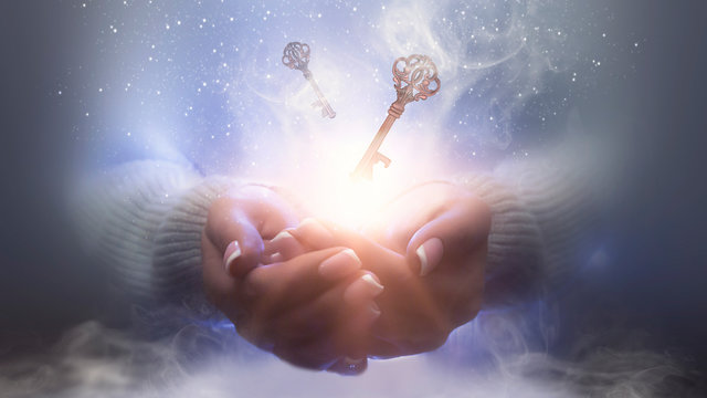 Magic particles emanating from female hands. Magic particles on the palms, magic, witchcraft