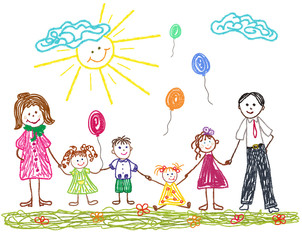 Friendly family with mom dad and children. Children's drawing drawn in crayons