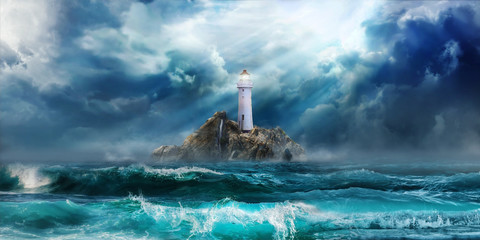 Photo on textile frame Island Lighthouse in storm with big waves awaiting tsunami